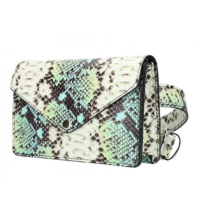 Leather Waist Bag/Messenger Bag 5303 teal