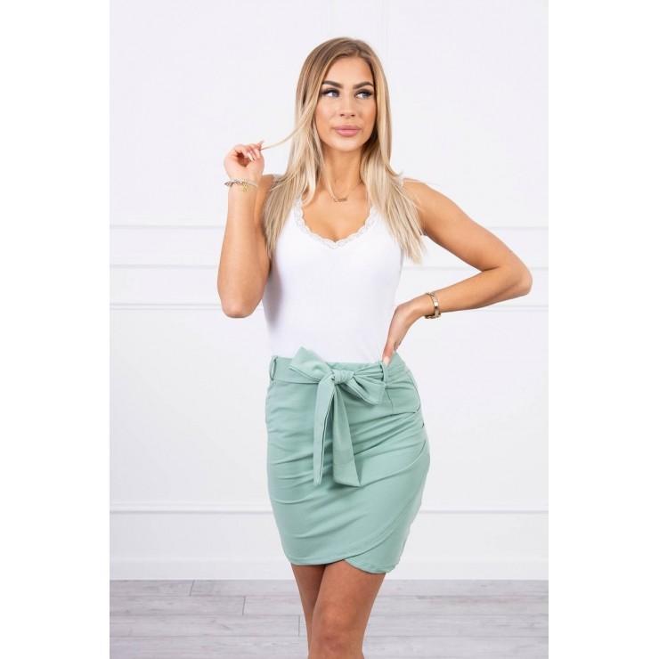 Women's skirt tied at the waist MI8984 dark mint