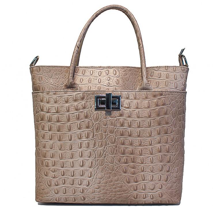 Genuine Leather Handbag 718 taupe