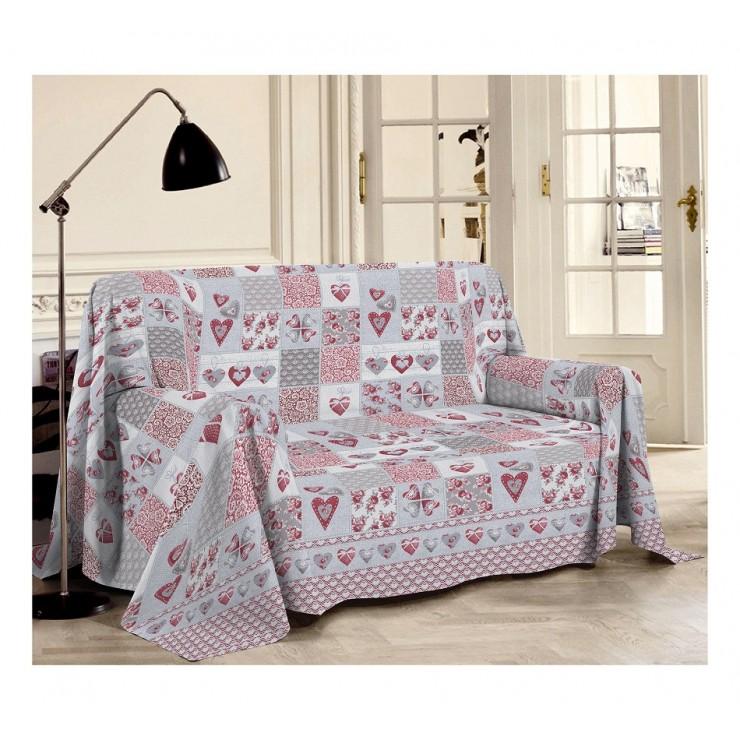 Přikrývka na gauč Patchwrok Primavera rudá