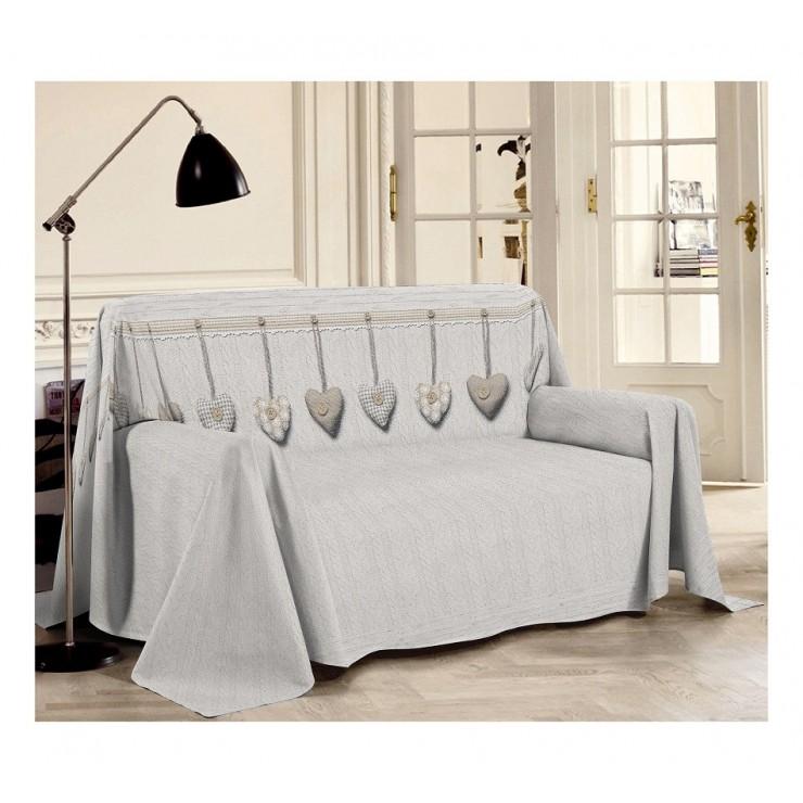 Prikrývka na gauč Visiace srdiečka béžová