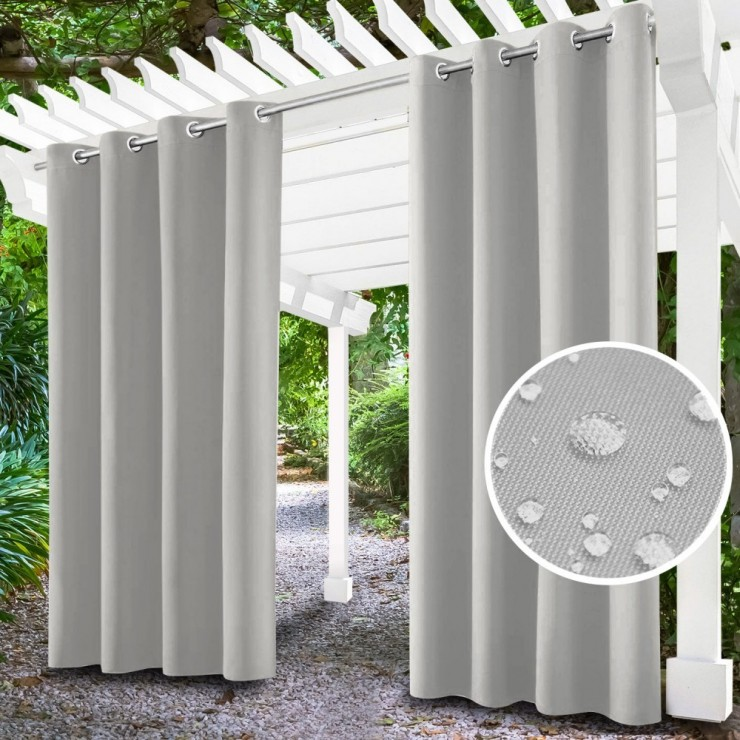Garden curtain on rings on the terrace MIG143 light gray