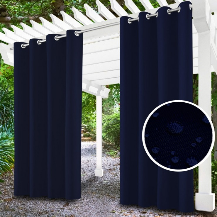Garden curtain on rings on the terrace MIG143 dark blue