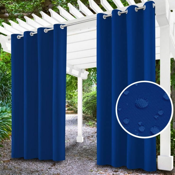 Garden curtain on rings on the terrace MIG143 azure blue