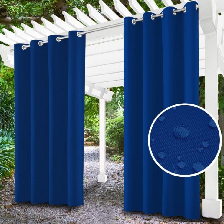 Záhradný záves do altánku na krúžkoch MIG143 azurovo modrý