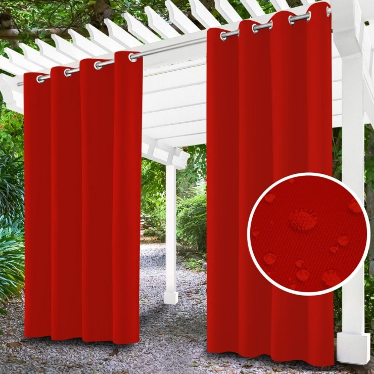 Garden curtain on rings on the terrace MIG143 red