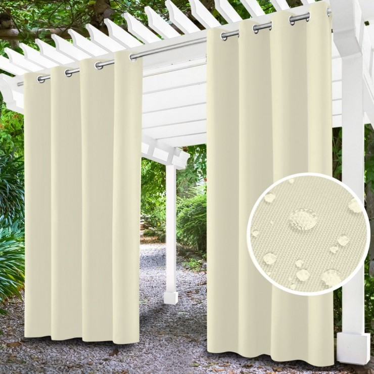 Garden curtain on rings on the terrace MIG143 cream