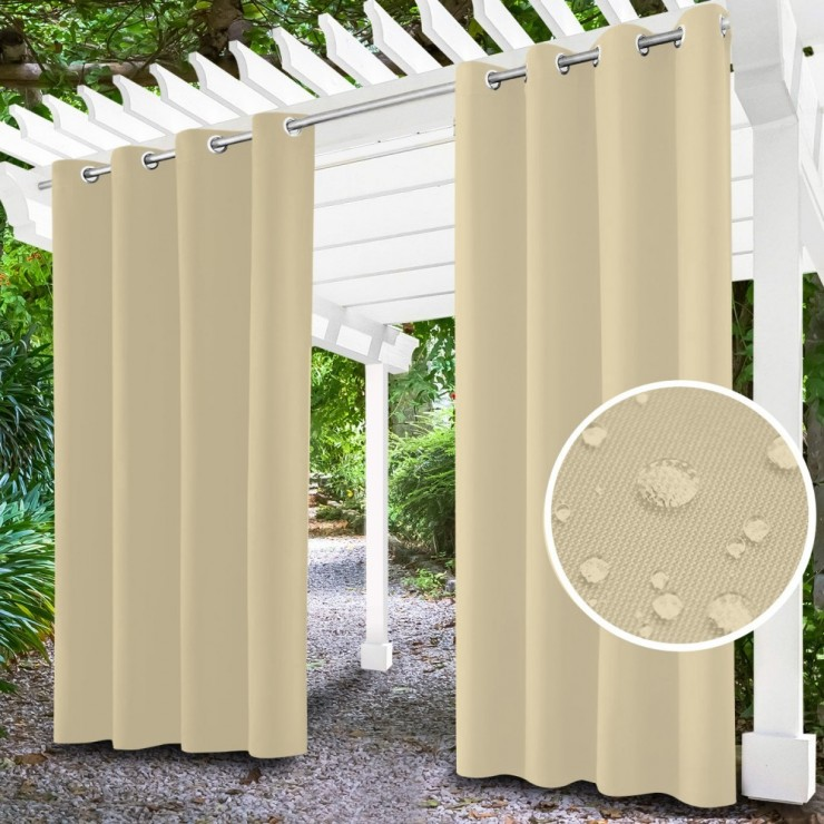 Garden curtain on rings on the terrace MIG143 light beige