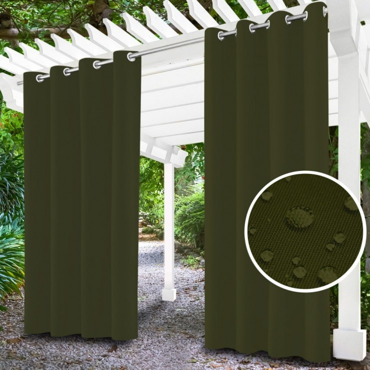 Garden curtain on rings on the terrace MIG143 khaki