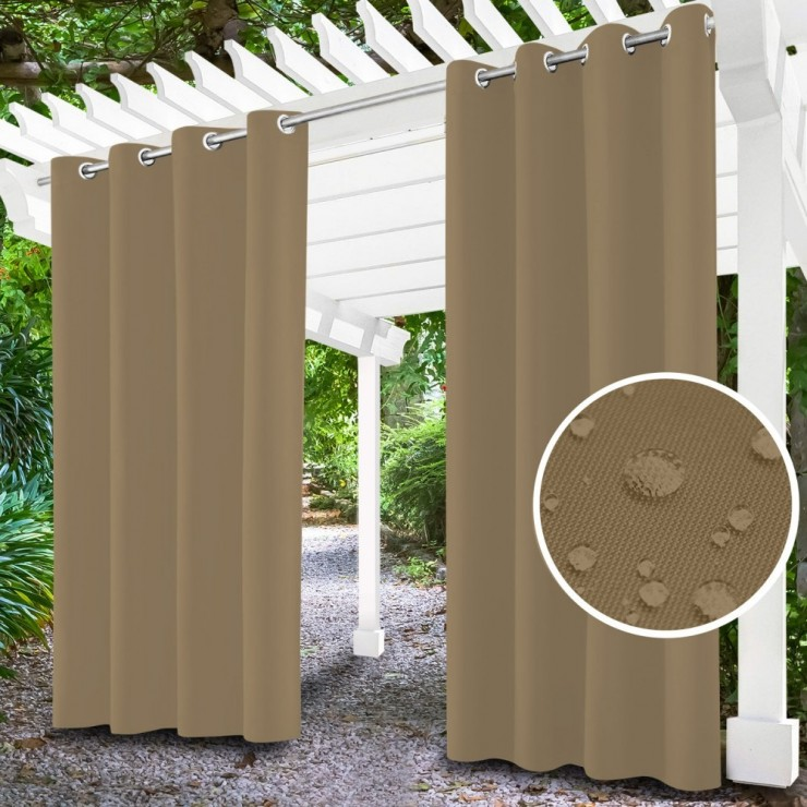 Garden curtain on rings on the terrace MIG143 dark beige