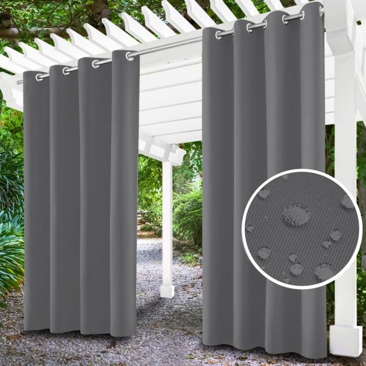 Garden curtain on rings on the terrace MIG143 gray