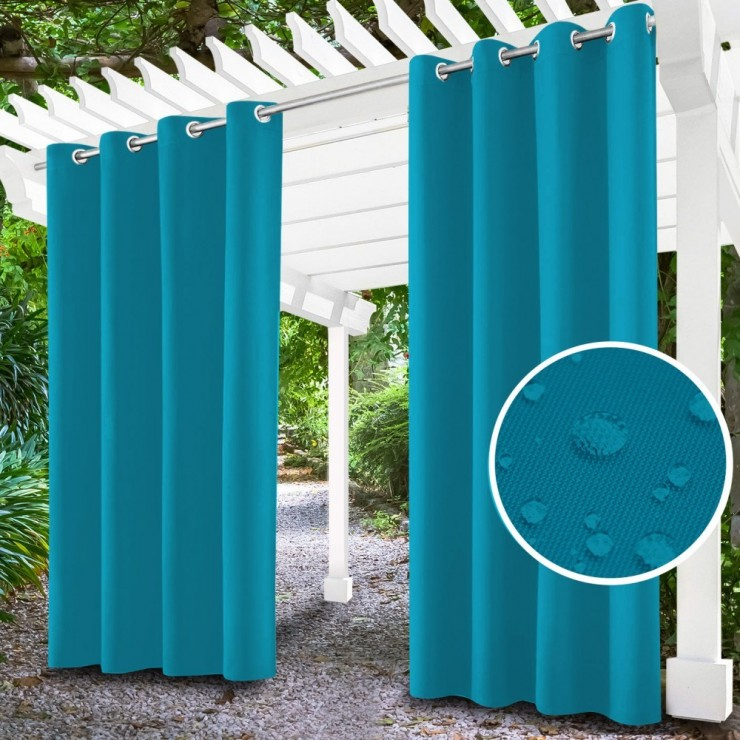 Garden curtain on rings on the terrace MIG143 dark turquoise