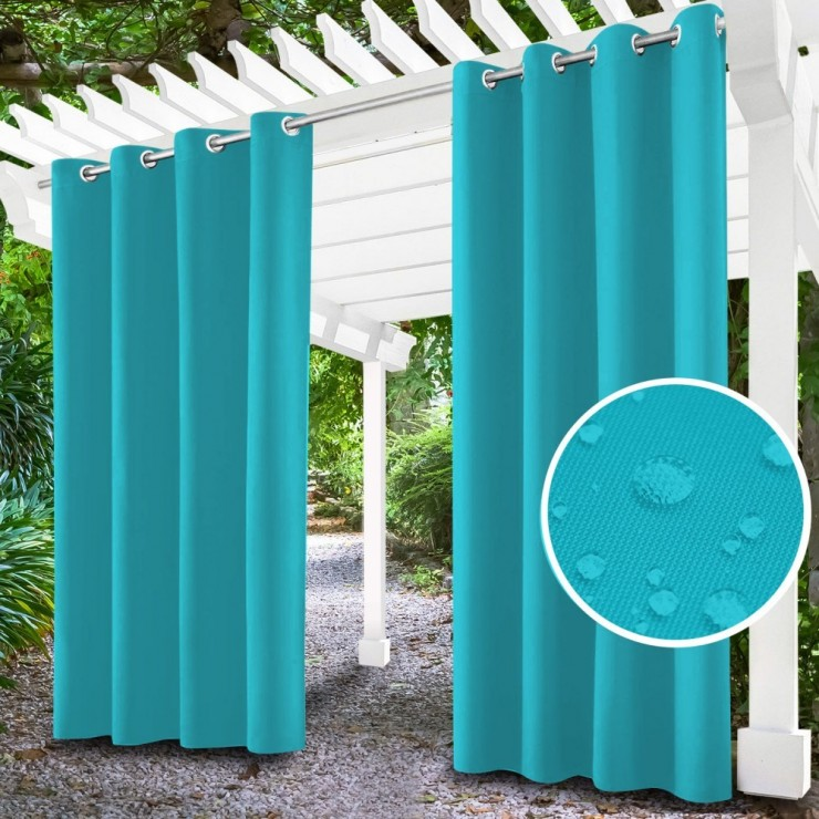 Garden curtain on rings on the terrace MIG143 turquoise