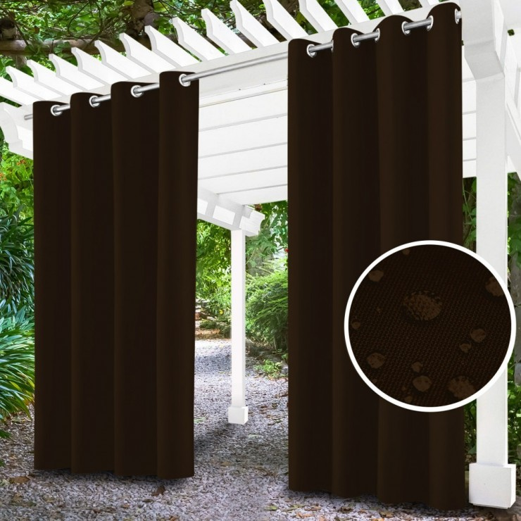 Garden curtain on rings on the terrace MIG143 dark brown