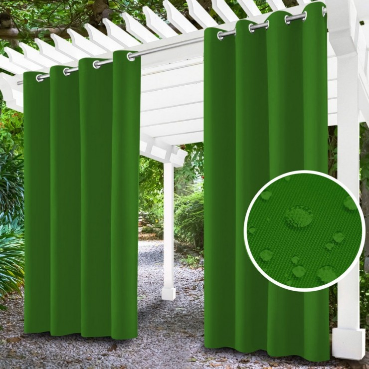 Garden curtain on rings on the terrace MIG143 green