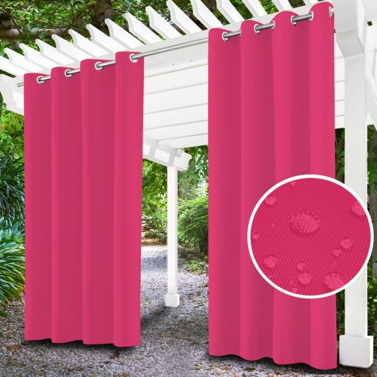 Garden curtain on rings on the terrace MIG143 pink