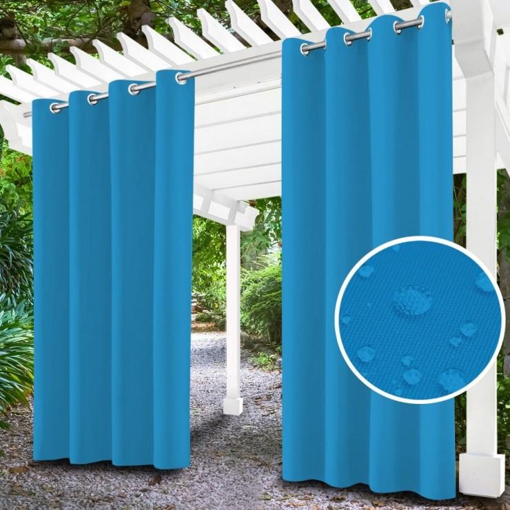 Záhradný záves do altánku na krúžkoch MIG143 blankytne modrý