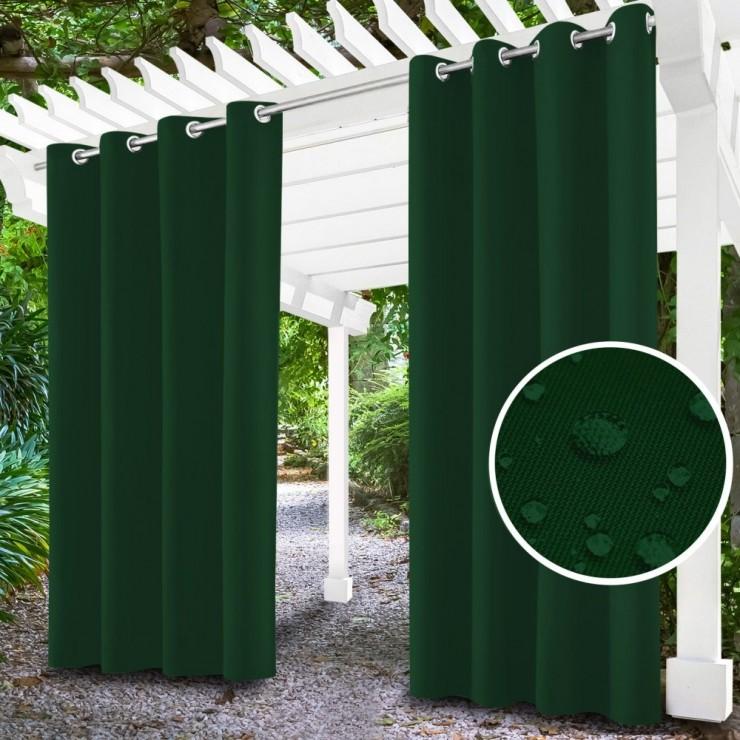 Garden curtain on rings on the terrace MIG143 dark green