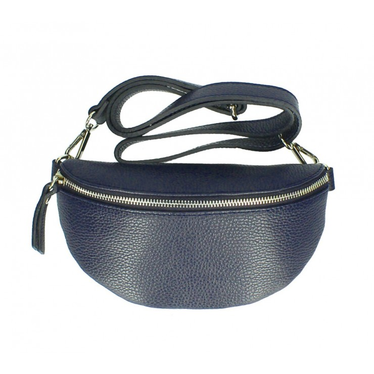 Woman Leather Waist Bag MI163 blue navy Made in Italy