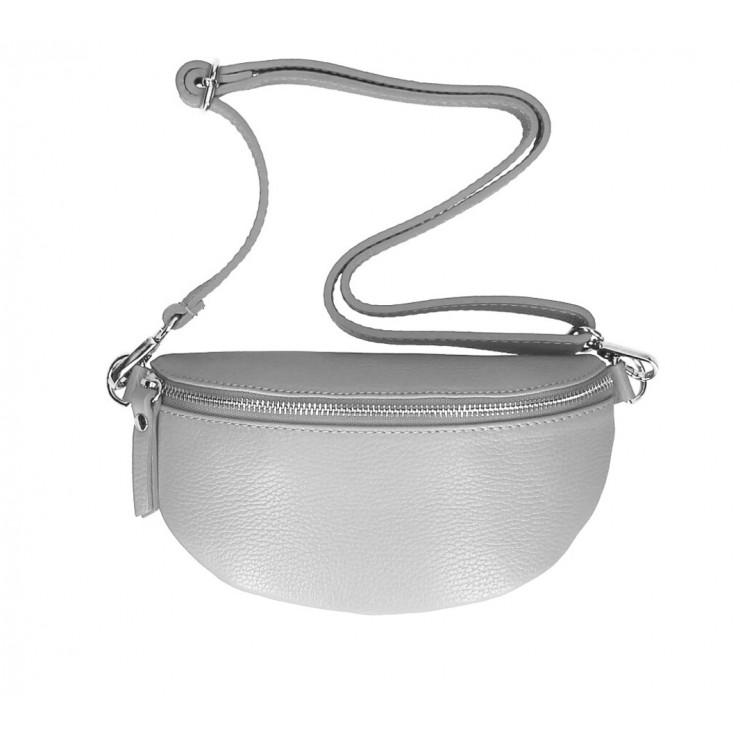 Dámská kožená ledvinka MI163 šedá Made in Italy