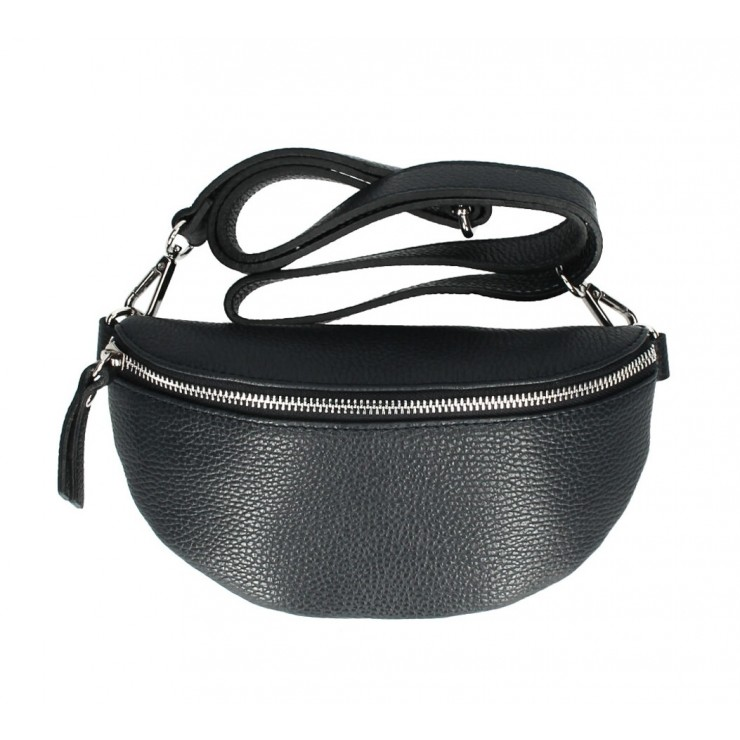 Woman Leather Waist Bag MI163 black Made in Italy