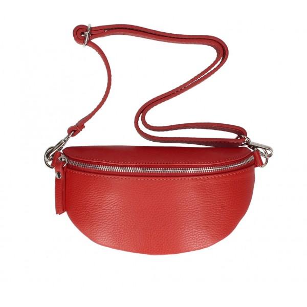 Dámska kožená  ľadvinka MI163 červená Made in Italy Červená