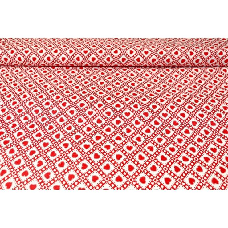 Dekorační látka Bavlna Rudé srdíčka, š. 140 cm