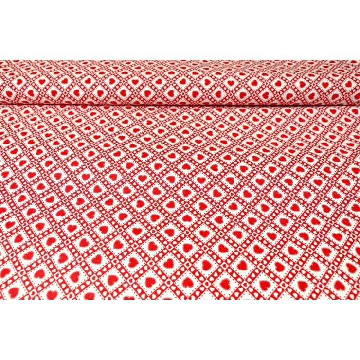 Fabric Cotton Red hearts, h. 140 cm
