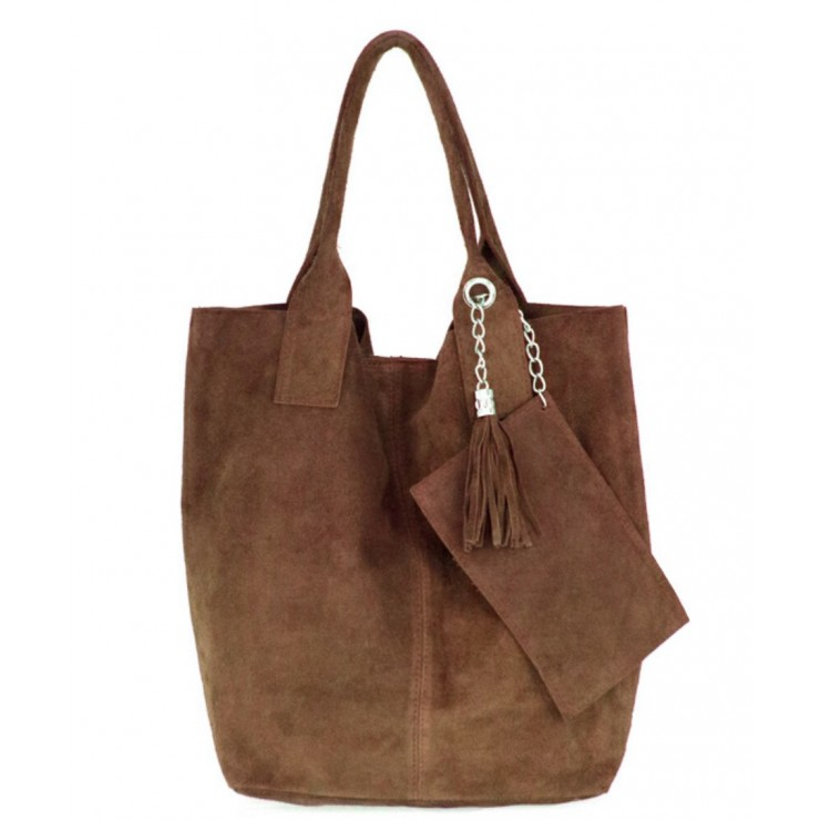Genuine Leather Maxi Bag  804 brown