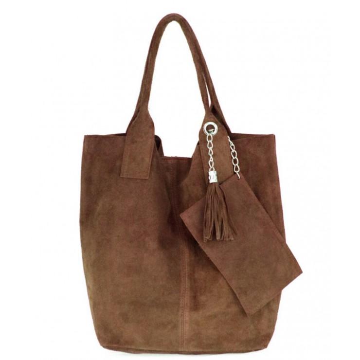 Hnedá kožená kabelka v úprave semiš 804
