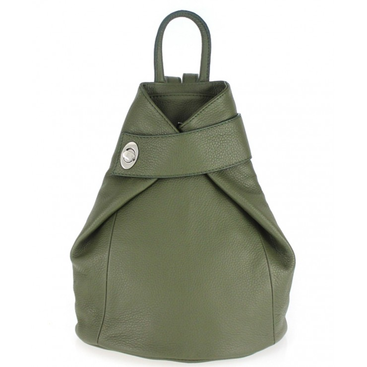 Leather backpack 443 military green