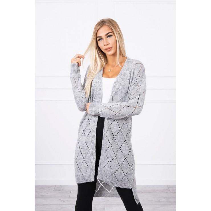 Dámsky sveter s geometrickým vzorom MI2020-4 šedý