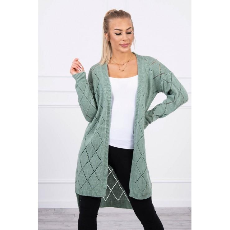 Women's sweater with geometric pattern MI2020-4 dark mint