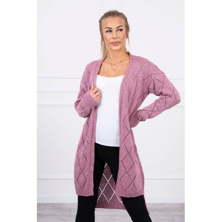 Dámský svetr s geometrickým vzorem MI2020-4 tmavě růžový