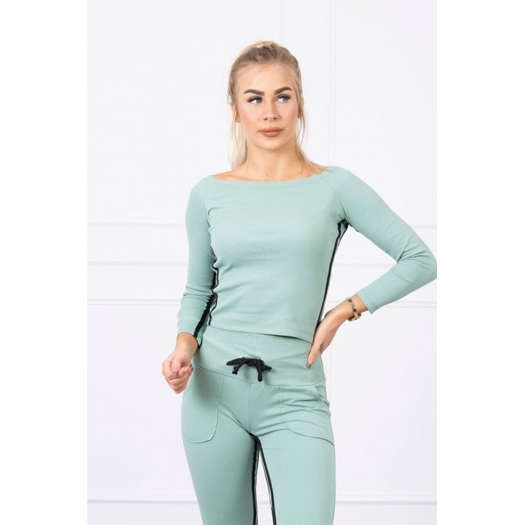 Women's set MI8958 with double stripe dark mint