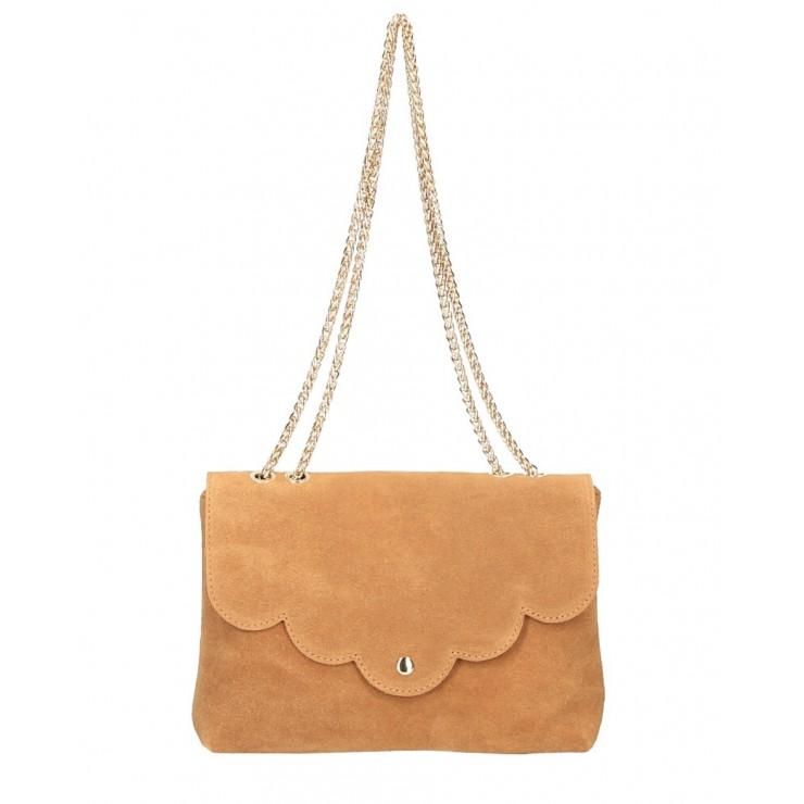 Genuine Leather Handbag MI164 Made in Italy cognac