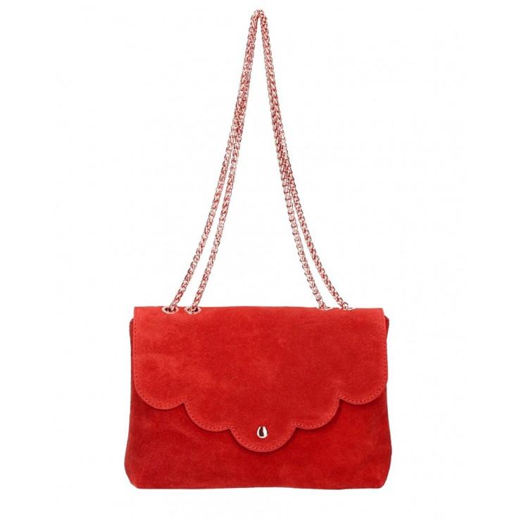 Kožená kabelka na rameno MI164 Made in Italy červená