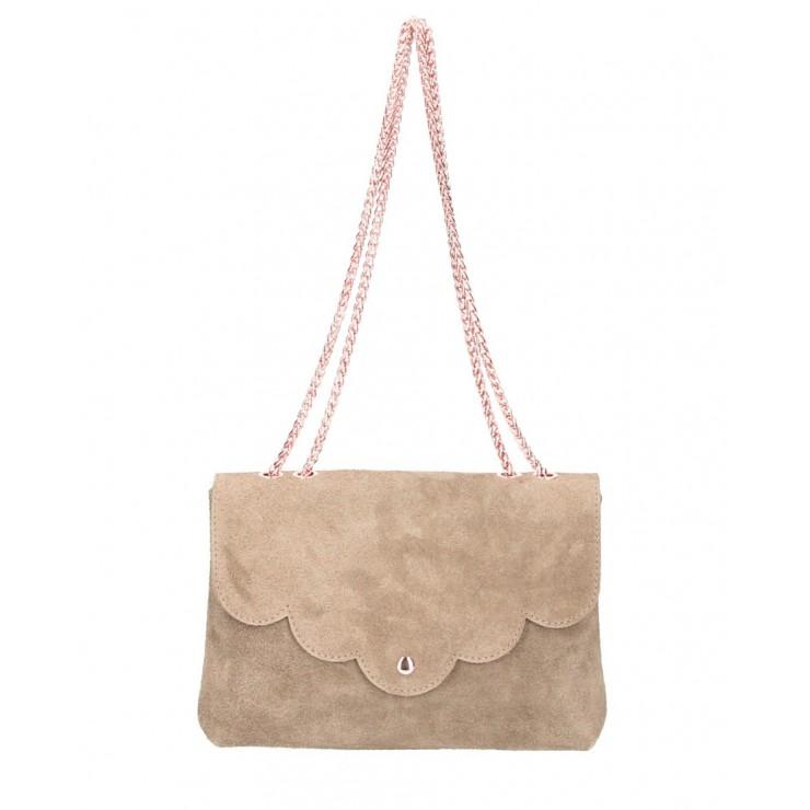 Genuine Leather Handbag MI164 Made in Italy gray-brown