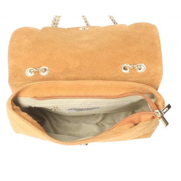 Kožená kabelka na rameno MI164 Made in Italy vojensky zelená Zelená