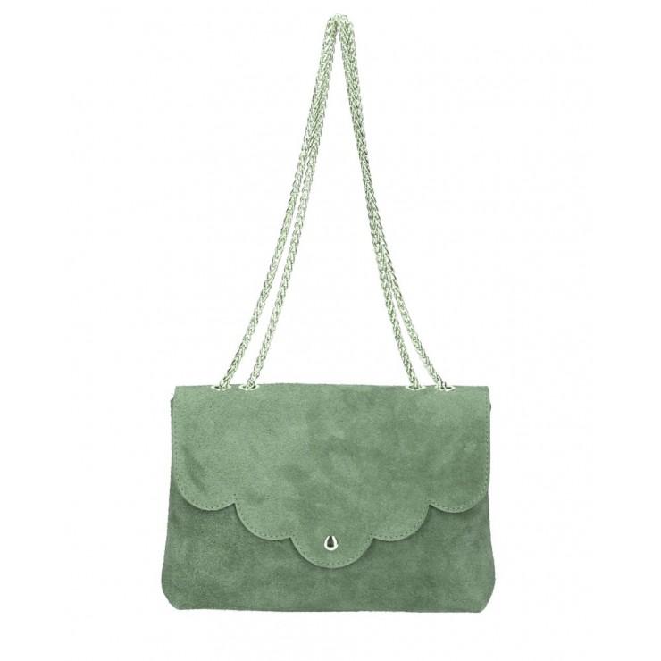 Genuine Leather Handbag MI164 Made in Italy military green