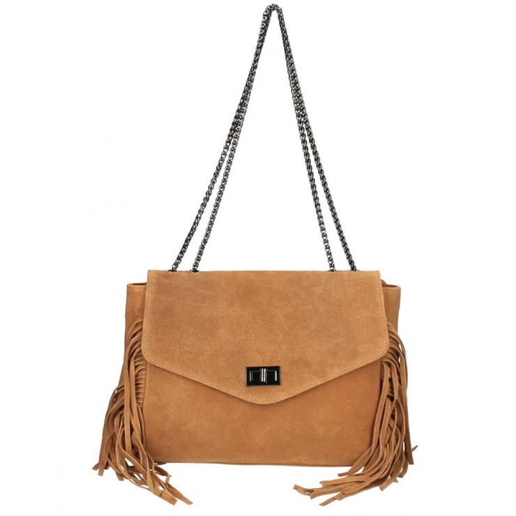 Suede Leather Bag with fringes 346 Made in Italy cognac