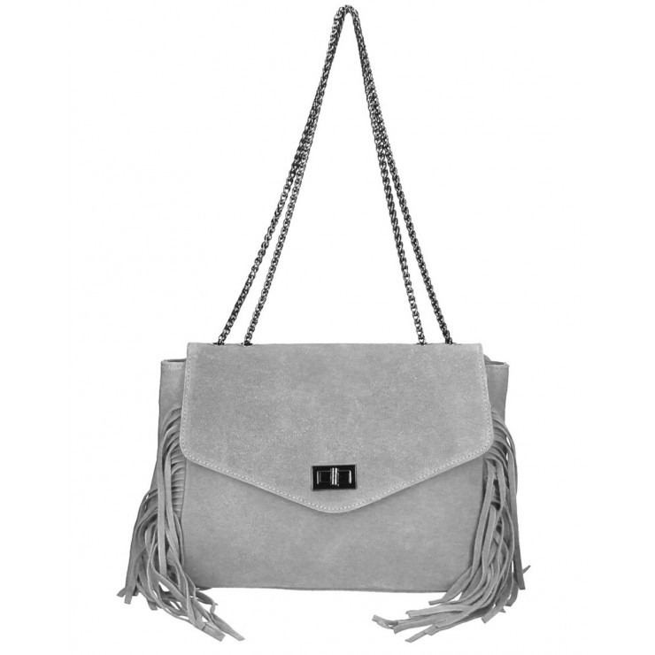 Suede Leather Bag with fringes 346 Made in Italy gray