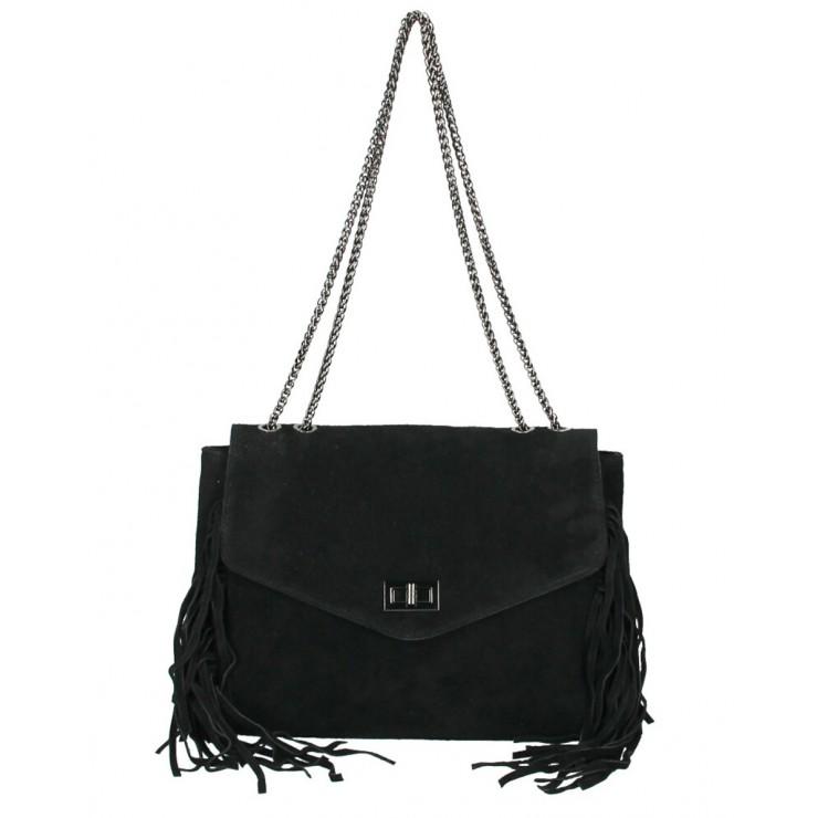 Kožená strapcová kabelka 346 Made in Italy čierna