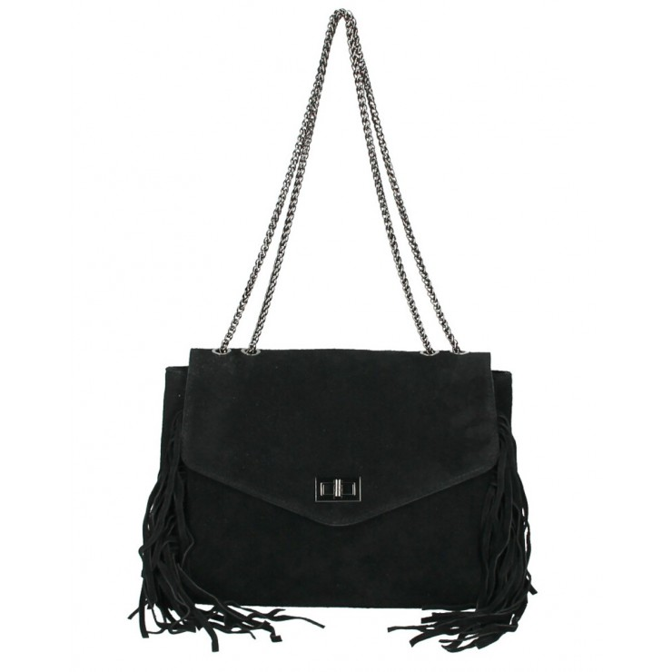 Suede Leather Bag with fringes 346 Made in Italy black