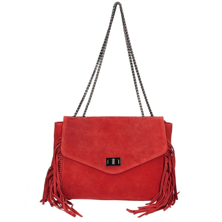 Suede Leather Bag with fringes 346 Made in Italy red