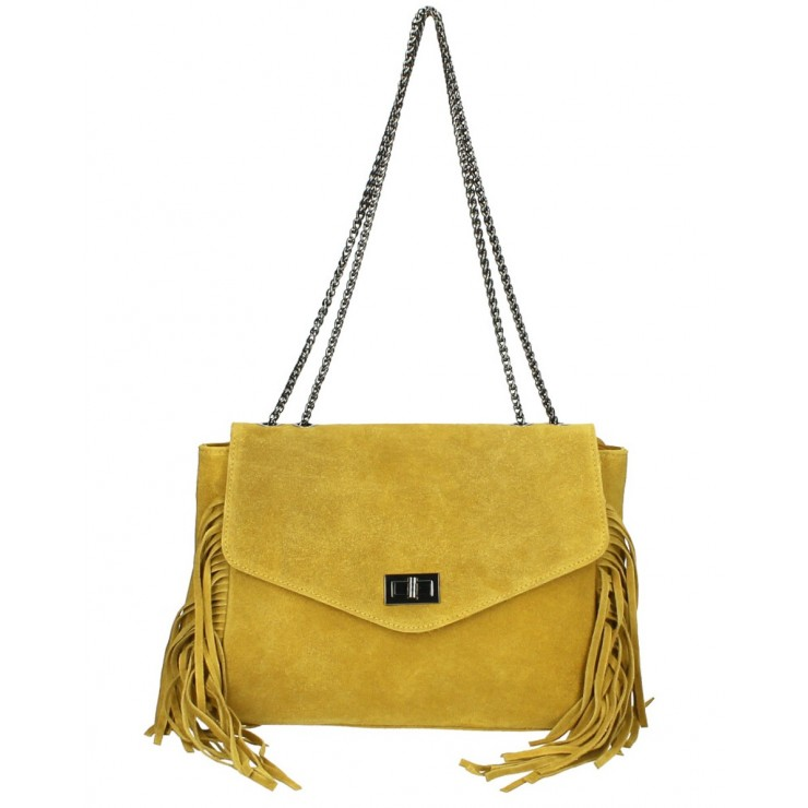 Suede Leather Bag with fringes 346 Made in Italy mustard