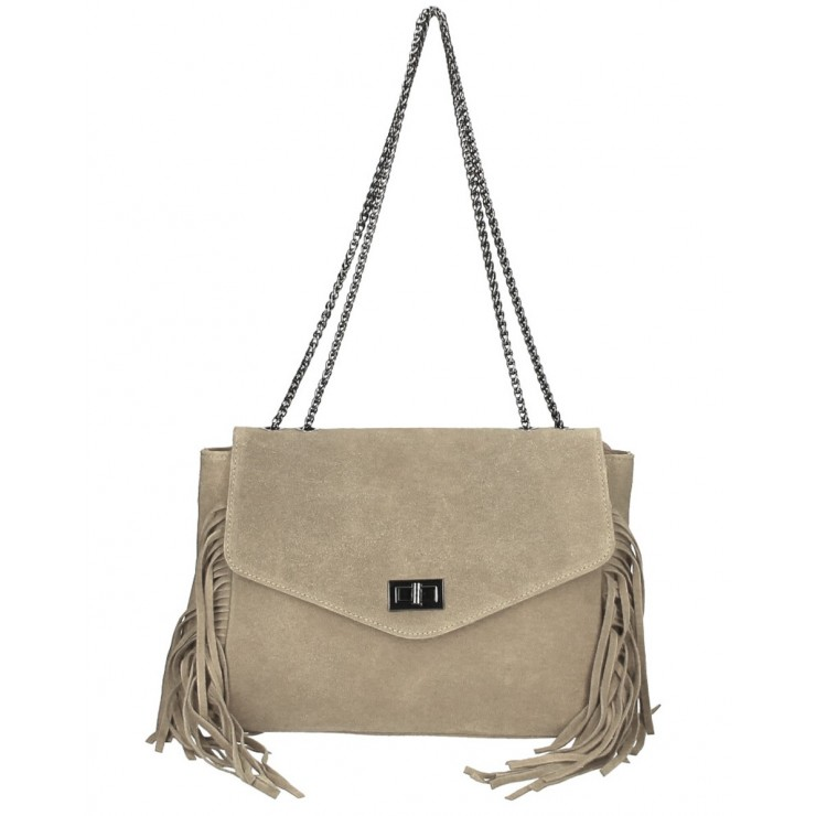 Suede Leather Bag with fringes 346 Made in Italy gray-brown
