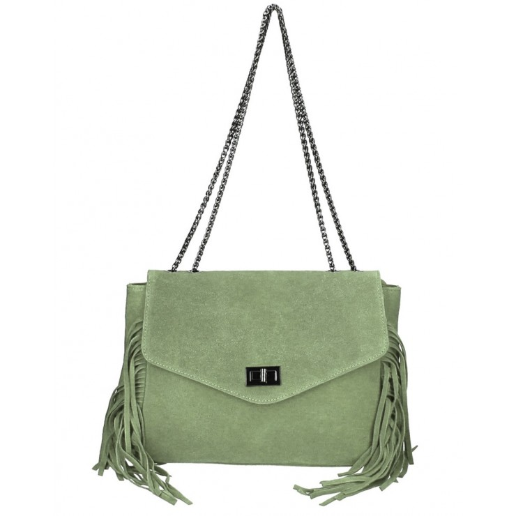 Suede Leather Bag with fringes 346 Made in Italy mint