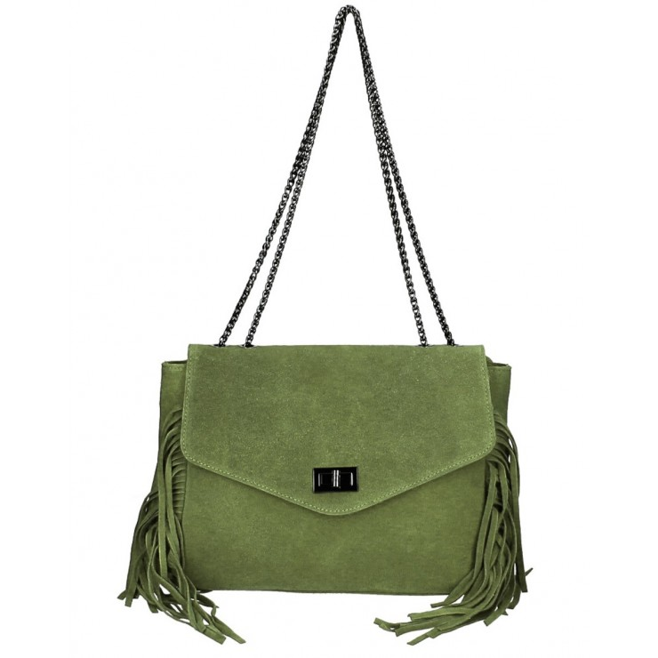 Suede Leather Bag with fringes 346 Made in Italy military green