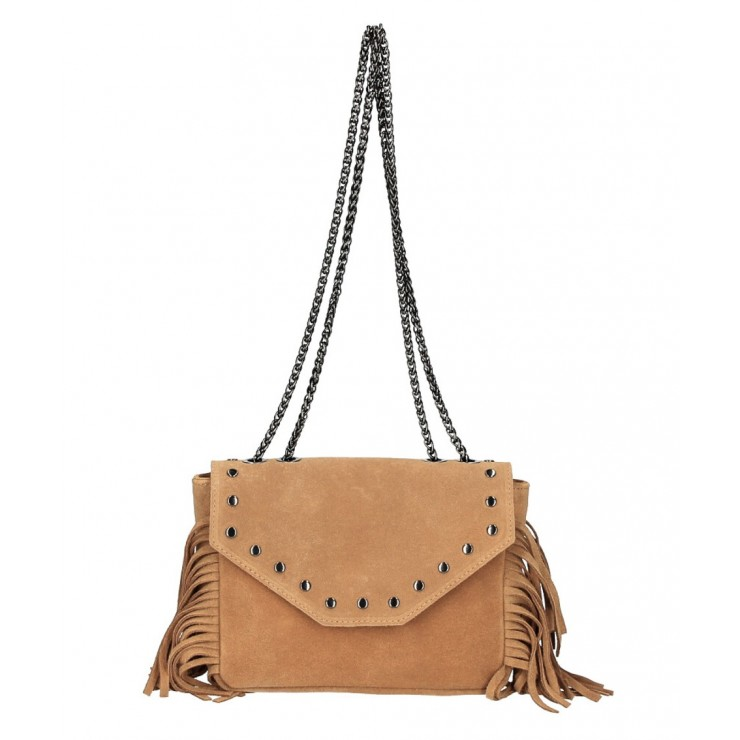 Suede Leather Bag with fringes 381 Made in Italy cognac